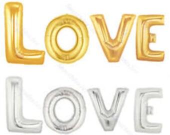 Love gold  balloon banner Balloon Letters set/ mylar balloons / foil balloons / wedding decorations / wedding decor