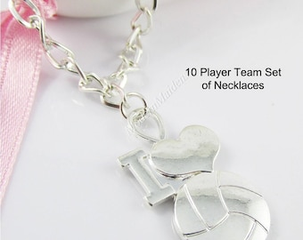 Team Set of 10 SP Netball I Love Netball Charm Pendant Necklace 70cm Curb Chain