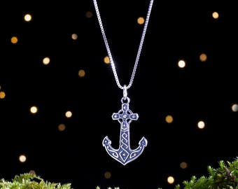 Sterling Silver Celtic Anchor - Double Sided - (Pendant or Necklace)