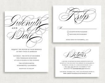 Wedding Invitation and RSVP Card (Flourishing) -Digital File, PDF, DIY, Printable, Script, Black and White, Modern, Classic, Printed, jpeg