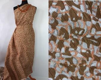50s brocade fabric, vintage dress fabric, unused