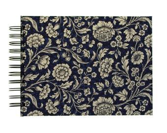 A5 Photo-Album blue Renaissance Flowers, spiral bound album, wedding guest book