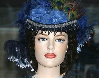 Kentucky Derby Hat Steampunk Hat Sidesaddle Hat Victorian Hat SASS Hat Women's Western Hat Blue Hat - Spirit of Bloomfield