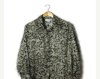 ON SALE Vintage Python pattern Shaggy Long sleeve Blouse from 1980's*