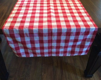 Red And White Checked Table Runner, Picnic Checkered Table Runner, Red  Gingham Table Cover, Rustic Wedding, Farmhouse Table Runners