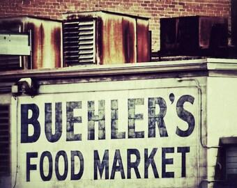 Kitchen Art, Urban Industrial Decor, Food Market Sign