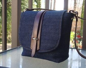 Denim Pouchette_Brown leather trim