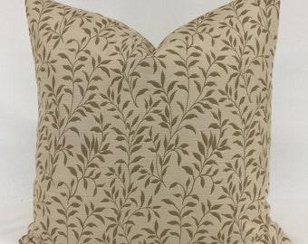 Pillow Cover - 20 x 20 - Leaf - Vine - Natural - Beige - Camel - Lined - Zippered