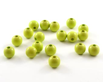 Wood bead 10 mm lime green color lot 10