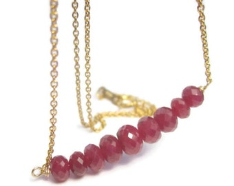 Genuine Ruby Necklace 14K Gold Filled and Graduated Red Gemstone Bar, July Birthstone