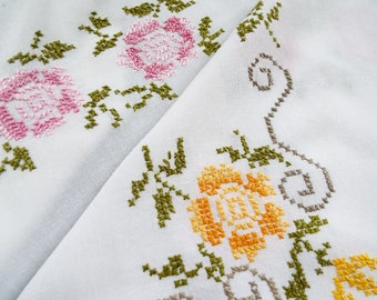 Vintage Linen Square Tablecloth, hand embroidered. White tablecloth with cross stitched pink roses and yellow roses. Great for a tea party
