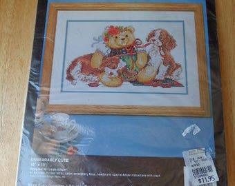 "Vintage Bucilla Stamped Cross Stitch Kit ""Unbearably Cute""  16 x 10 1994 #40930 Unopened Craft Kit"