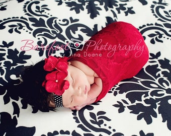 baby girl red headband, newborn red headband, baby head band, black
