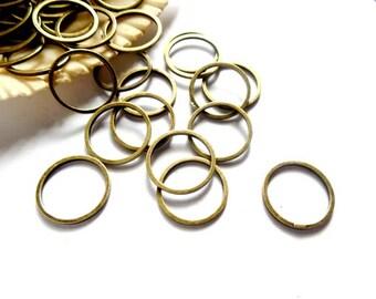 25 Antique Bronze Closed Jump Rings 12mm -11-5