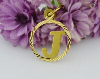 18k Yellow Gold Estate Diamond Cut Letter/Initial J Pendant
