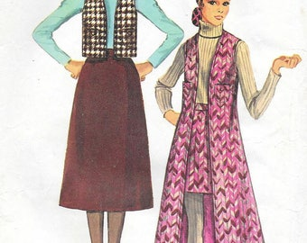 Vintage 1970s Simplicity Sewing Pattern 8953 - Misses' Vest and Skirt size 12  bust 34 uncut FF