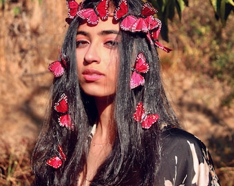 Burning Love Red Butterfly Crown, monarch headpiece, butterfly crown, bridal crown, costume headpiece