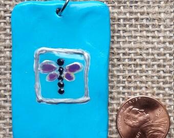 Dragonfly sculpty pendant