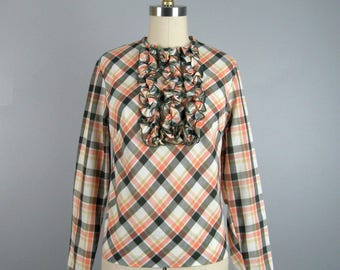 Vintage 1960s Plaid Blouse 60s Peach White and Green Ruffle Blouse by Bobbie Brooks Size M