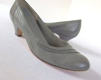 Vintage 1980's Gray Pumps - Red Cross Shoes - Size 9.5 M