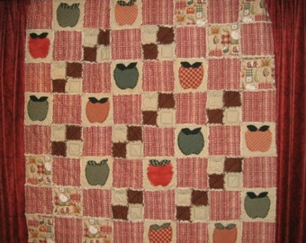 Apple Applique Rag Quilt Pattern Digital Download by Sew Practical, Mom and Pop Craft