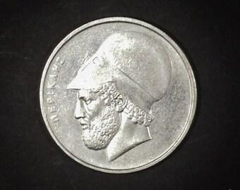 Coin Greece 20 Drachmai 1988 - Pericles - Temple - Drachmes - Vintage collectible Greek coin