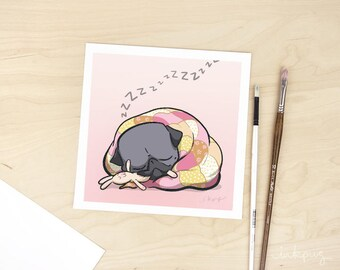 Snuggle Bunny black pug art print - sleeping pug print, black pug with bunny chew by Inkpug
