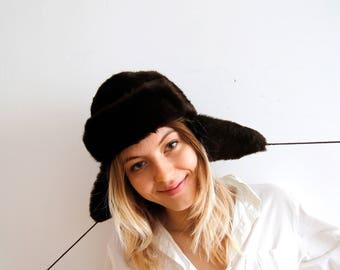 Vintage Dark Brown Trapper Hat Soviet Hat Faux Fur Trapper Hat Women Trapper Hat Warm Winter Hat Ushanka Ear Flapps Hat Russian Winter Hat