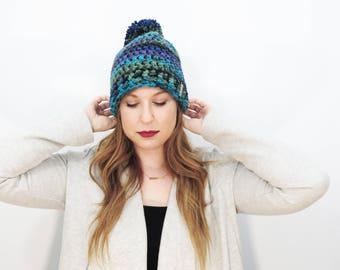 Multicolor Pom Pom Hat. Chunky Pom Pom Beanie. Black Blue Green Purple Beanie. Womens Pom Pom Hat. Womens Winter Hat. Gifts Under 30
