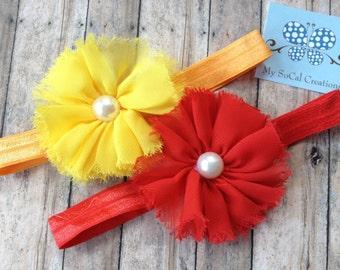 Shabby Chiffon Flower Infant Stretch Headband Set-Shabby Chic-Red-Yellow-Chiffon Flowers with Pearl Center-Baby Headbands