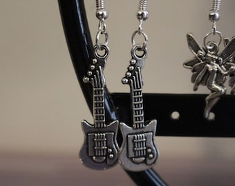 Guitar silver charm earrings
