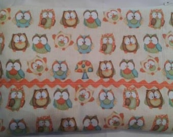 Owls print cotton clutch bag, cotton clutch bag, zippered clutch bag, small glove bag, cotton bag