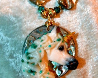 Unicorn Fantasy Necklace, On Abalone Shell