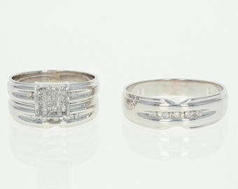 Diamond Wedding Set - 14k Gold Bride and Groom Princess & Round Brilliant .42ctw N8836