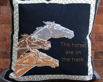 The Horses are on the Track embroidered pillow