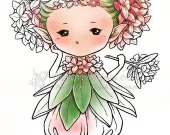 Digital Stamp - Daphne Sprite - Whimsical Flower Fae - digistamp - Fantasy Sprite Line Art for Cards & Crafts by Mitzi Sato-Wiuff
