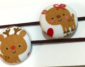 Ponytail holders - Reindeer - Great stocking stuffer - Winter Holiday Christmas ponytail holder -  fabric covered button hair ties