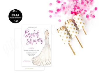Illustrated Wedding Gown Bridal Shower Invitation- Printed with Envelopes!
