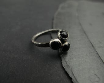 Onyx Stacking Ring- Sterling silver and 5mm Onyx trio - Organic design - Delicate minimalist ring - Made to order in your size