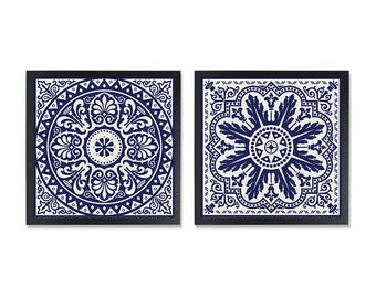Navy geometric decor Dark blue wall art Tile clipart, Geometric design, Square wall decor, 8x8 Minimal Art PRINT, Set of 2 prints, PRINTABLE