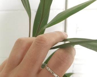 Floral silver stacking ring  // handmade to order // choose your size // recycled sterling silver