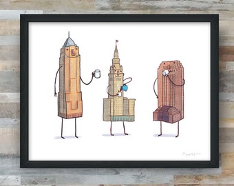 Coffee with Cleveland- art print