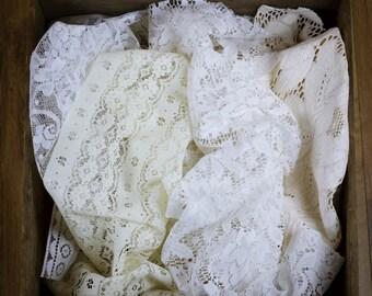 Vintage White & Cream Lace Layer Set - Floral/Ornate