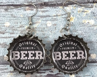 Beer Theme Earrings, Beer Cap Earrings, Beer Jewelry, Recycled Bottle Caps, Repurposed Earrings, Bottle Cap Earrings, Upcycled Jewelry