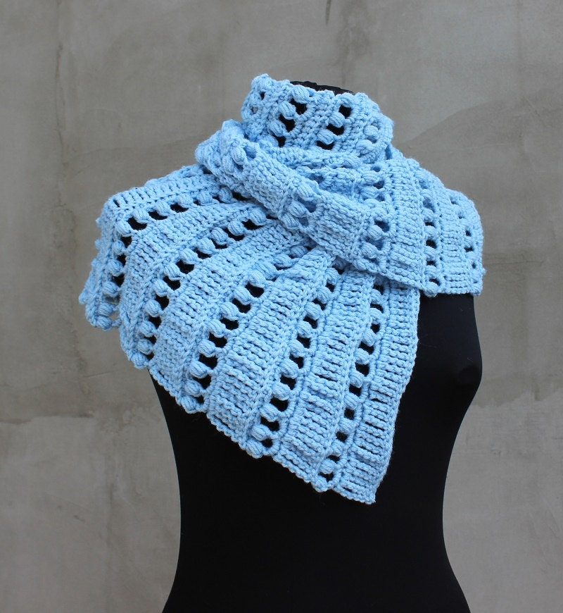 Baktus Scarf Crocheted Baktus Handmade Shawl Blue Triangle