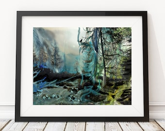 Forest and Watercolor Digital Art, Fantasy Landscape Art Print, Mixed Media Poster, Wall art-9