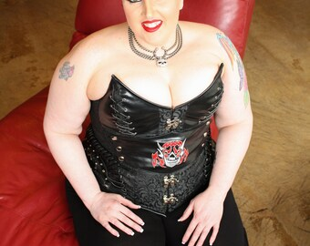 Black Brocade and Leather Skull Corset