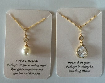 Mother of the bride necklace grooms mothers necklace in gold/silver/rose gold