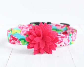 Spring Floral Dog Collar with Flower - Pink & Turquoise