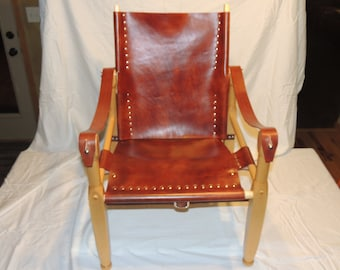 Wood and Leather Campaign or Safari Chair